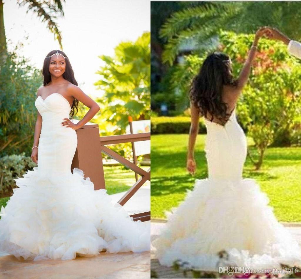 Mermaid Wedding Dresses 2016 Sweetheart Ruffles Layers
