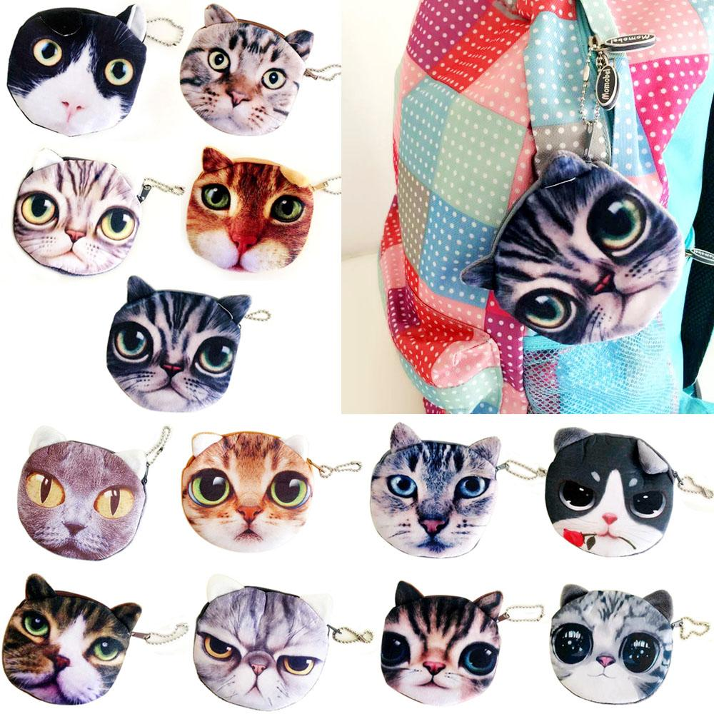 Hot Sales Lovely Cute Cat Face Print Zipper Coin Purses Wallets Makeup Mini Bag Pouch BX194 Free Shipping