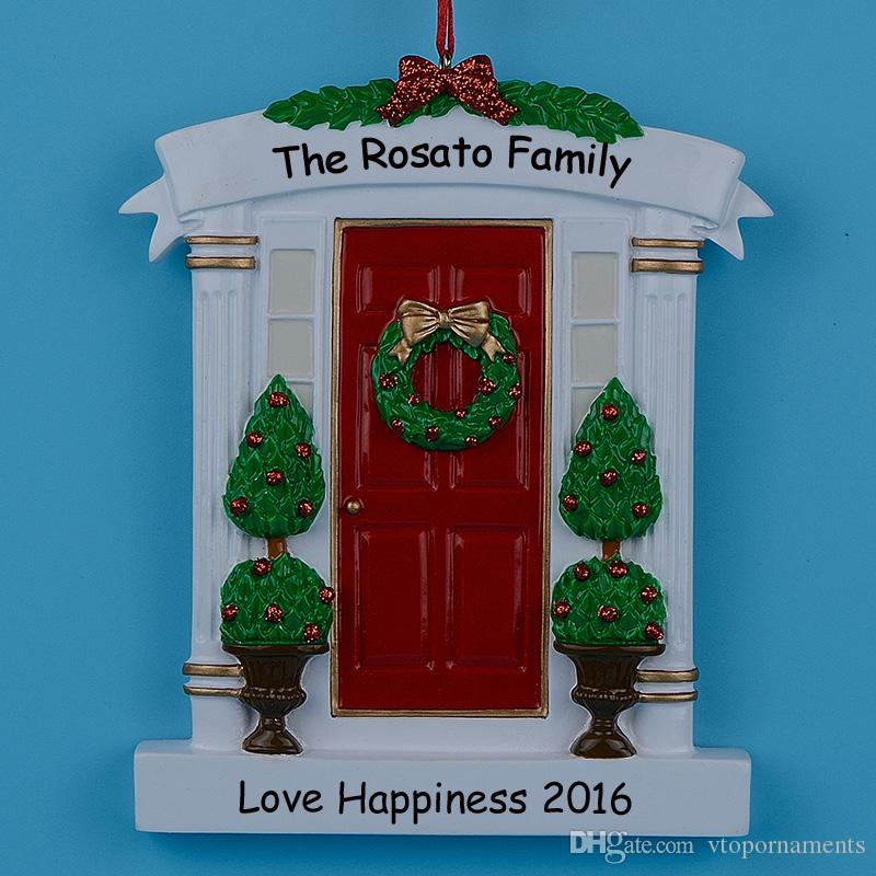 Red Home Door Polyresin Personalized Christmas Tree