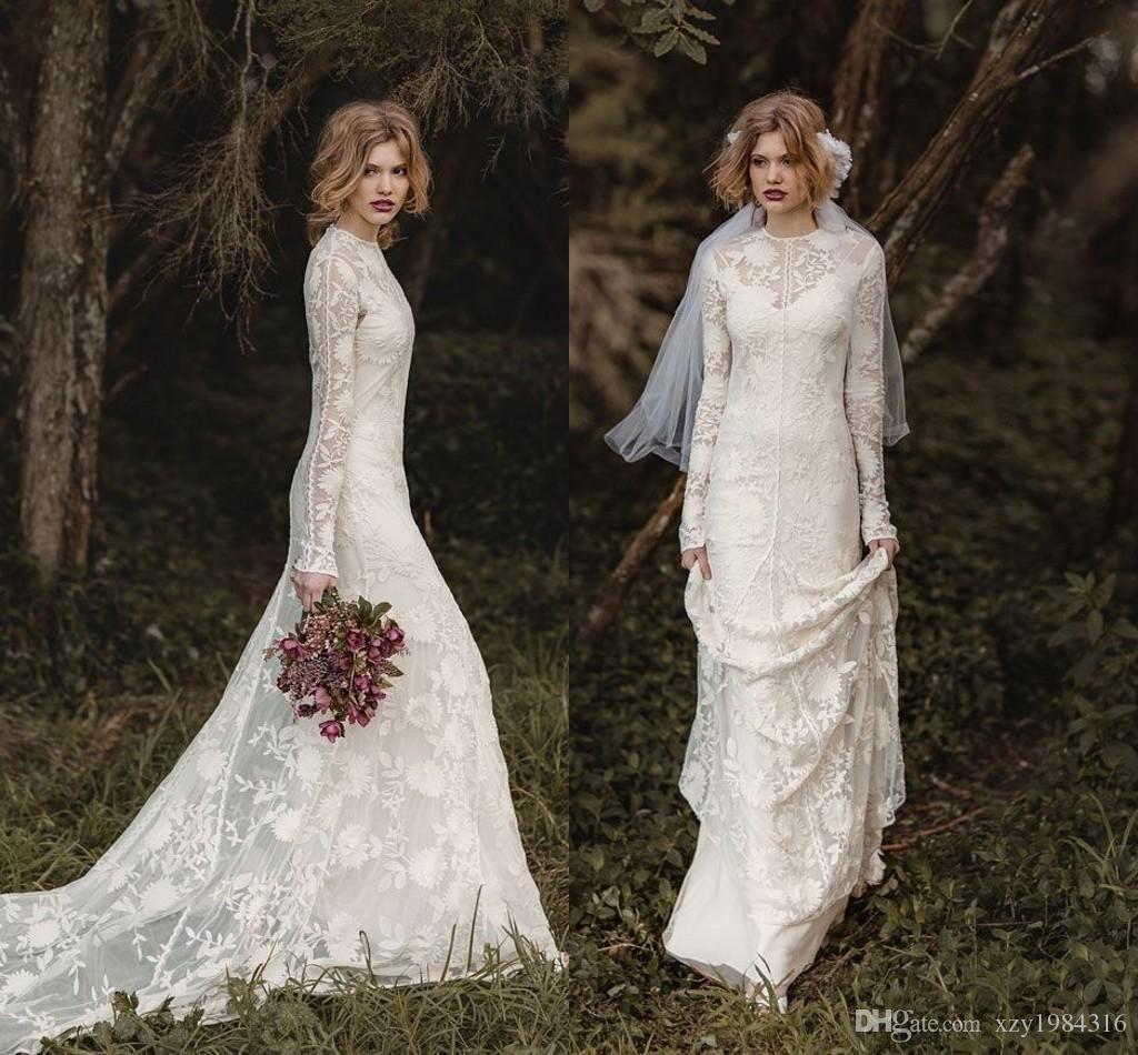 2016 Spring Skirt Train Lace Wedding Dresses Crew Sheer