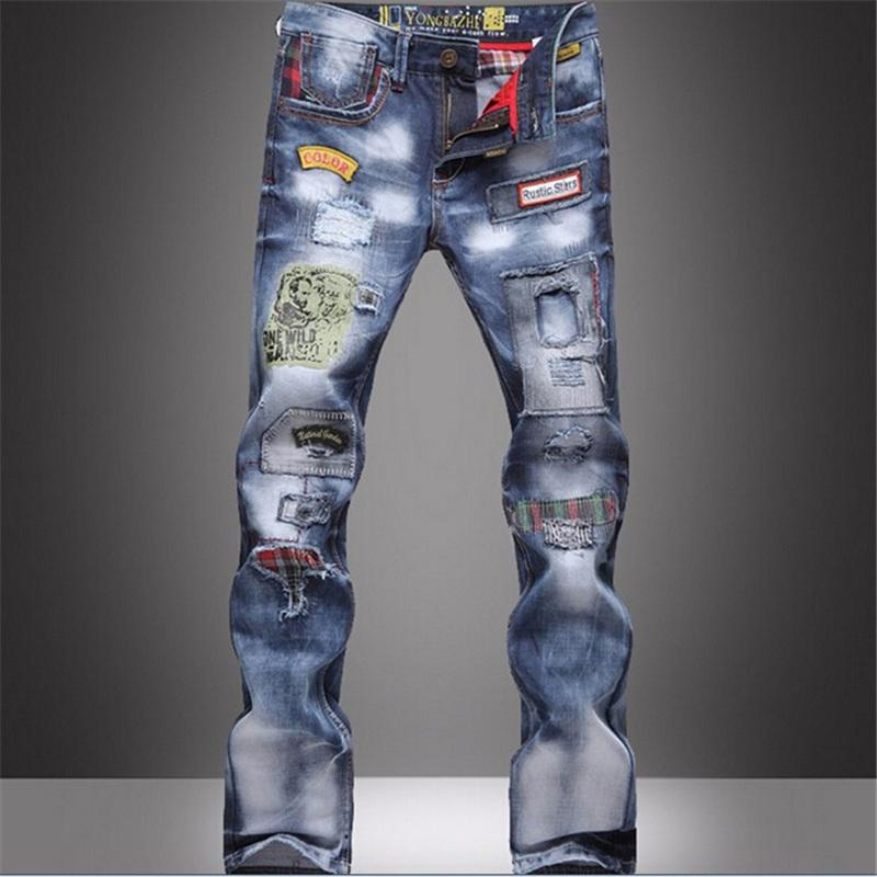 Style Populaire Jeans Patch Jeans Denim Beggars Pantalons Jeans Slim Hommes Pant