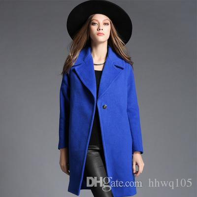 2017 New Fashion Oversized Wool Coats Blue One Button Long Coat