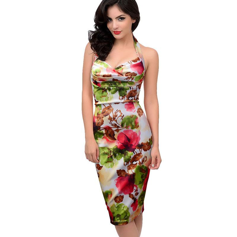 GL Halter Flower Print Sheath Empire Waist Slimming Bodycon Party Dress - Color: As Shown - Size: Medium