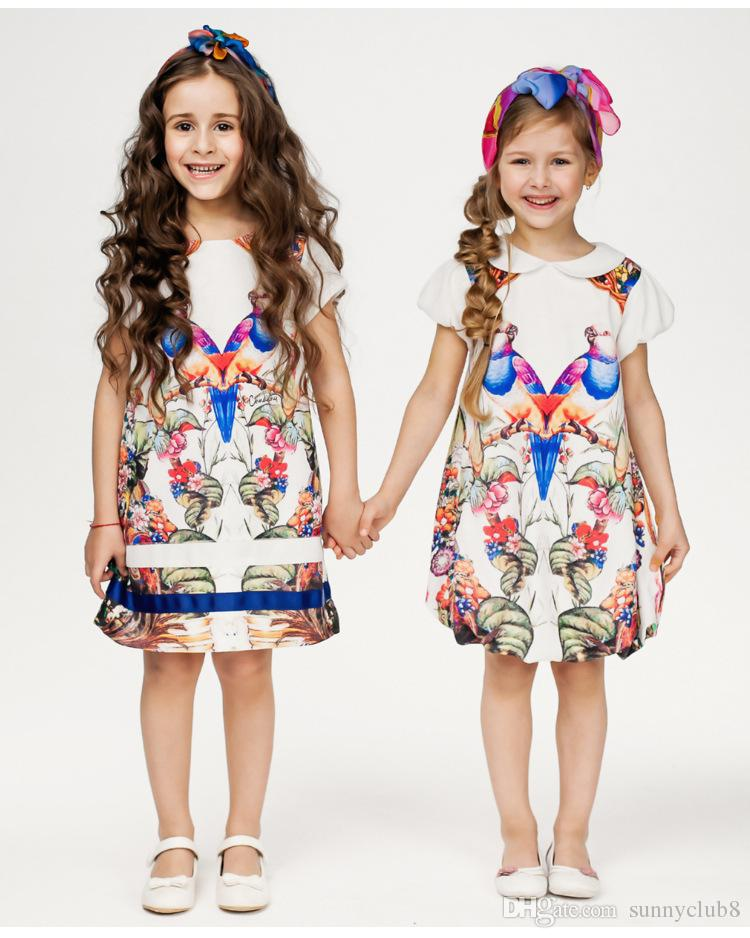 2017 Chn Dkny 2016 New Summer Flower Kids Big Girls Dresses Mother ...