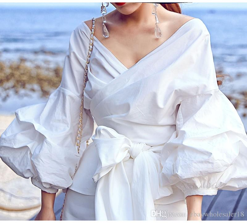 Fashion Runway Marque Designer Style Femmes Blouse Big Lantern Manches V-cou Bow