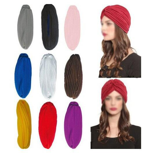 Stretchy Turban Head Wrap Band Sleep Hat Chemo Bandana Hijab plissé Cap Indian