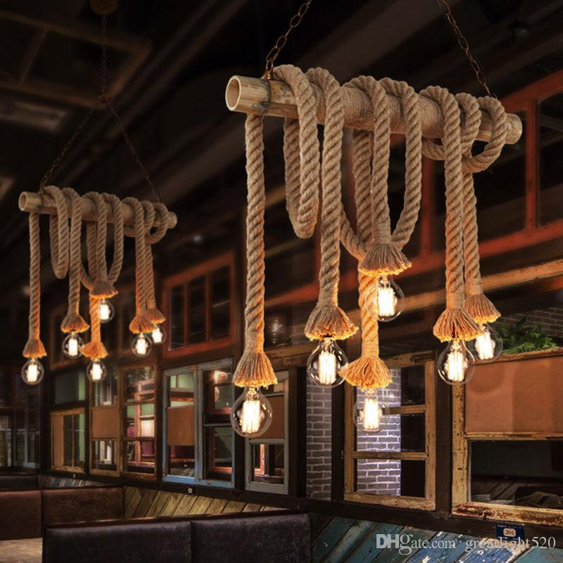 Diy Industrial Vintage Hemp Rope Chandelier Pendant Light