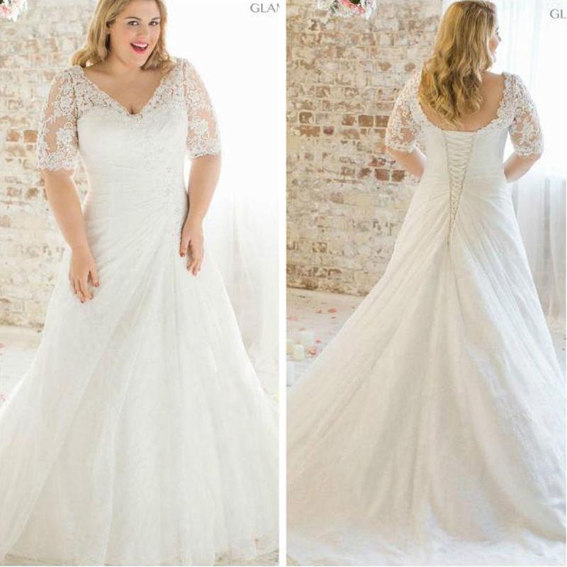 2016 new plus size lace short sleeve wedding dress white for Plus size wedding dresses size 28