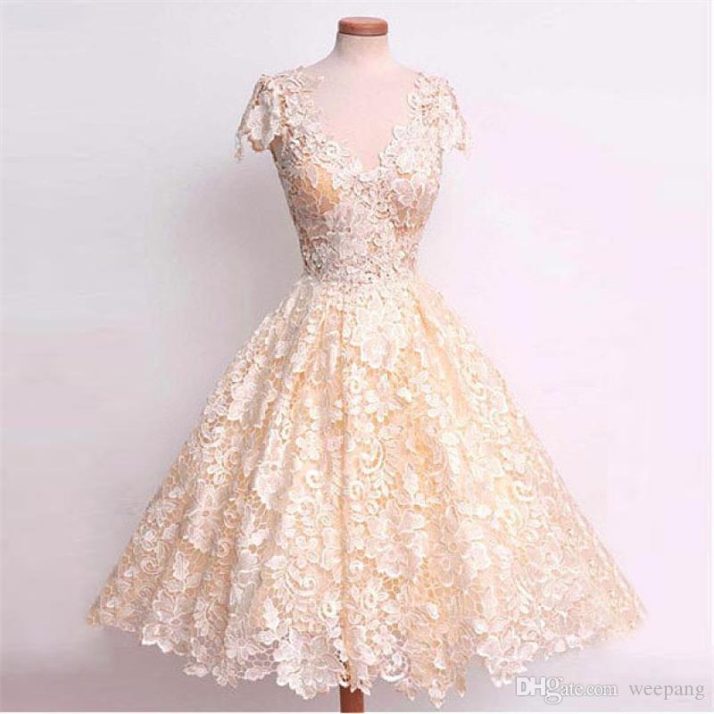 Knee length ivory elegant wedding dresses 2016 v neck cap for Ivory knee length wedding dresses