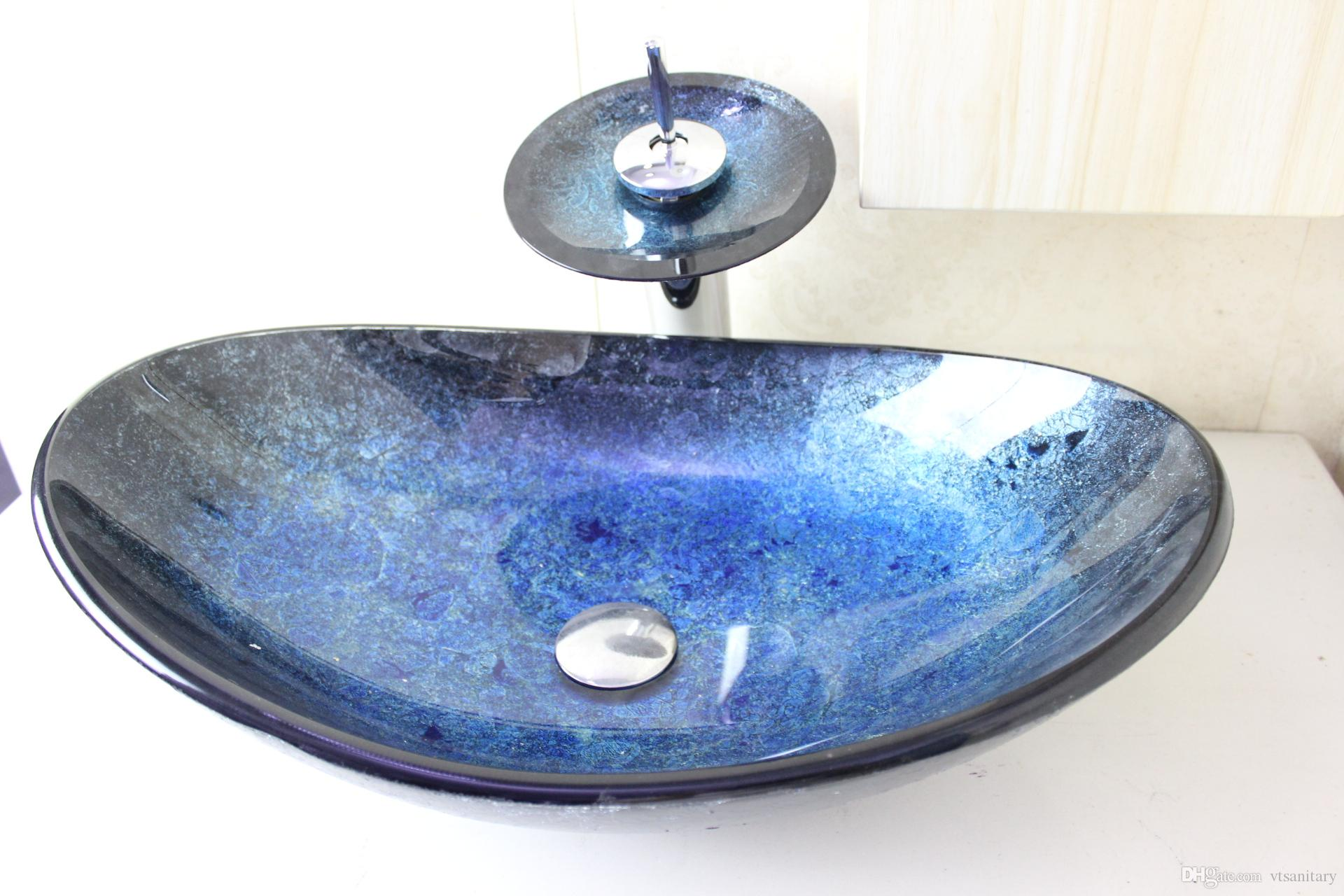 Deep purple round Tempered glass Vessel sink with Waterfall faucet Set ...