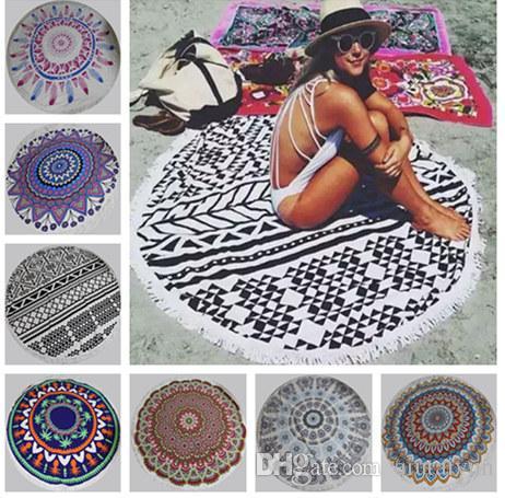 150cm Round Beach Towel Bohemian Style Fiber Fabric 150cm