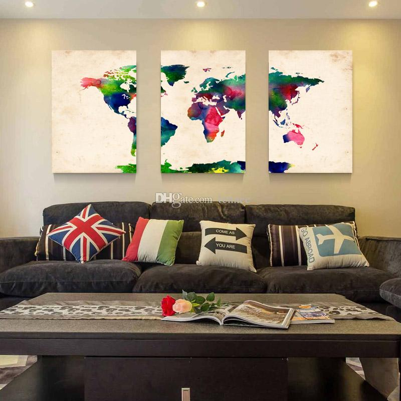 Hot Sell 3 Panels Canvas Modern Triptych Wall Painting Watercolor World Map Home Decor Art Picture