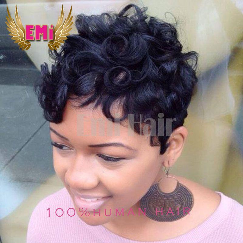 Brazilian Human Hair Short Curly Cut None Lace Wigs Pixie