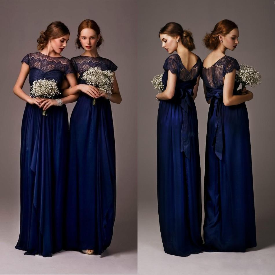 2016 new navy blue beach bridesmaid dresses sheer neck lace top 2016 new navy blue beach bridesmaid dresses sheer neck lace top ribbon plus size summer country wedding guest party dress cheap custom bridesmaid dresses ombrellifo Gallery