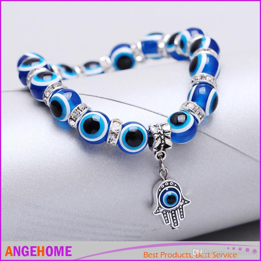 Mode Simple Evil Eye Hamsa main charme religieux perles bleues Bracelet chanceux