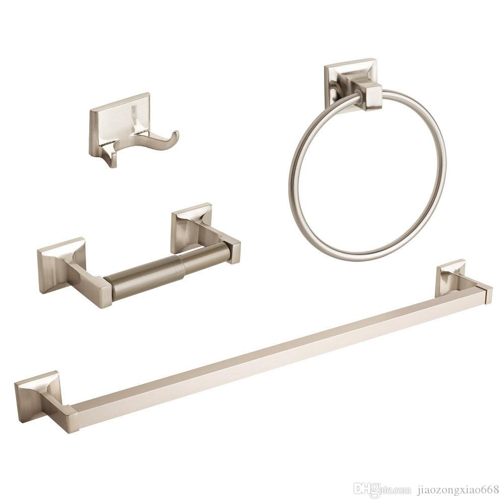 Bathroom hardware accessory set - 2017 Brushed Nickel Bathroom Hardware Accessory Set Towel Bar Hook Ring Holder From Jiaozongxiao668 27 09 Dhgate Com