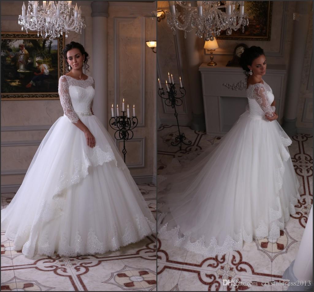 Modest Long Sleeve Lace Wedding Dresses Ball Gowns Bateau