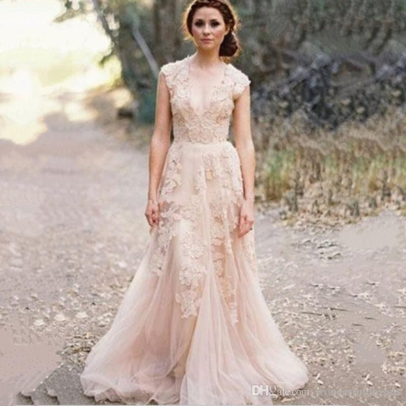 2015 vintage lace wedding dress anna campbell sexy boho for Anna campbell vintage wedding dress