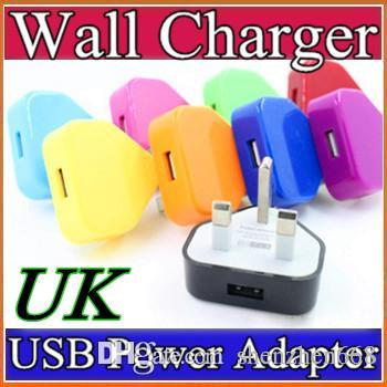 2016 Colorfull UK 3 broches USB plug chargeur AC Accueil Chargeur mural Adaptate