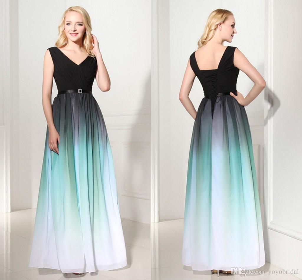 Modern Ombre Designer Bridesmaids Dresses 2016 Cheap Floor