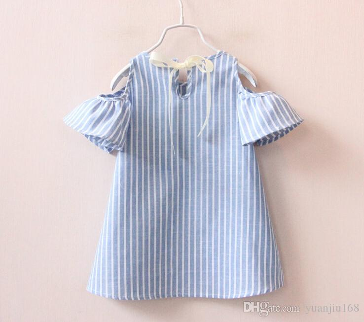 Kids Girls Stripe Cotton Dresses Baby Girl Summer Off-shoulder ...