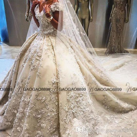 Ziad nakad 2017 luxury 3d floral detail ball gown wedding for Ziad nakad wedding dresses prices