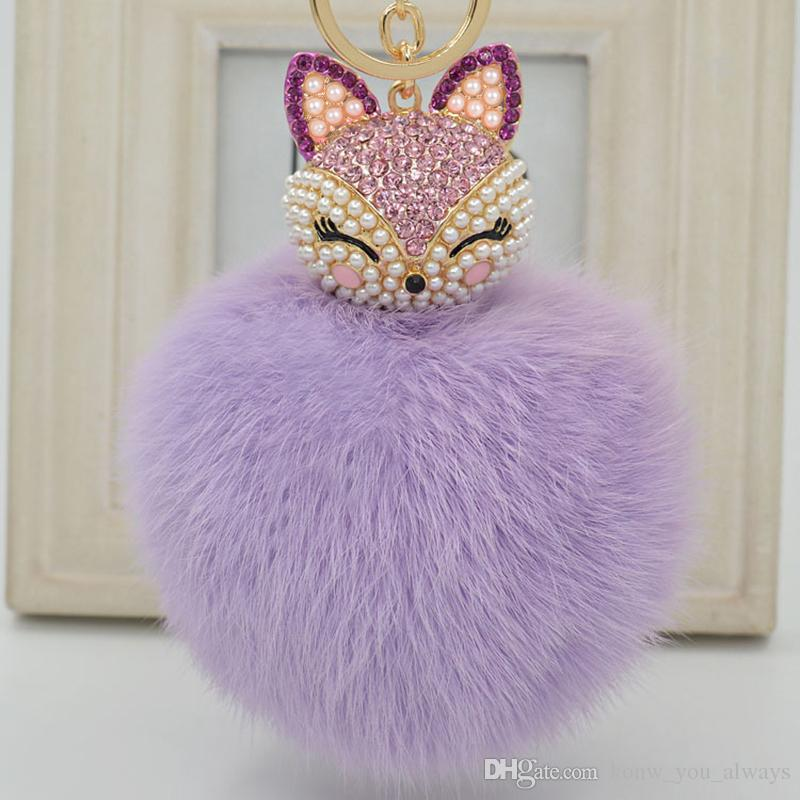 Cute Fox Fur Pearl Ball Rhinestone Porte-clés RingKeyring Keychain Bag Car Charm