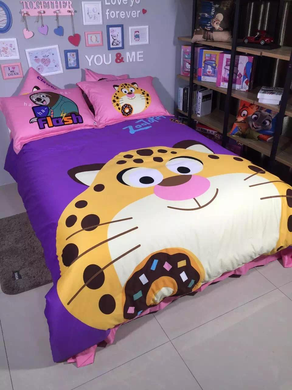 Best places to buy bedding - 2016 New Arrival Zootopia Cheetah Benjamin Printed Queen Size 100 Egyptian Cotton Bedding Set Duvet Cover Set