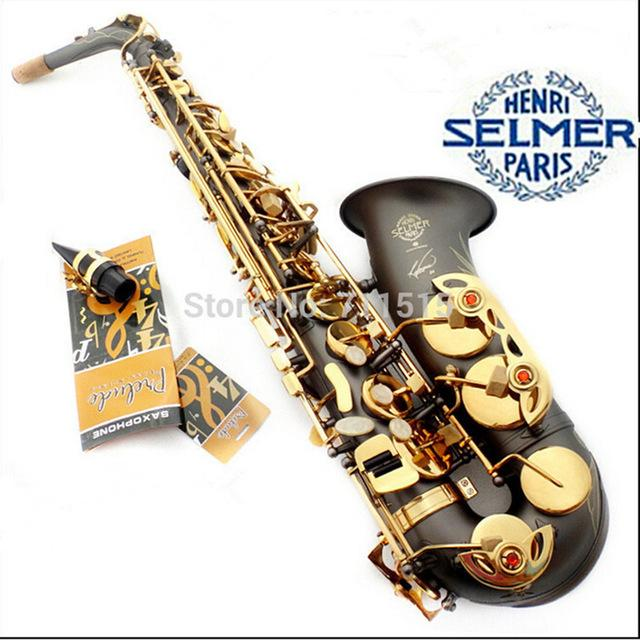 -France Henri Selmer R54 Saxophone Alto Instruments Musical Professional Black Nickel Sax Gold Bonded Grind Arenaceous