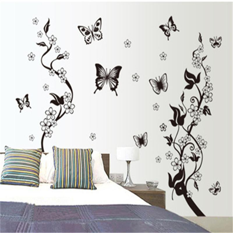 110x115cm Black Butterfly Flower Tree Wall Stickers For Kids Rooms Living Room Home Decor Wall Decor