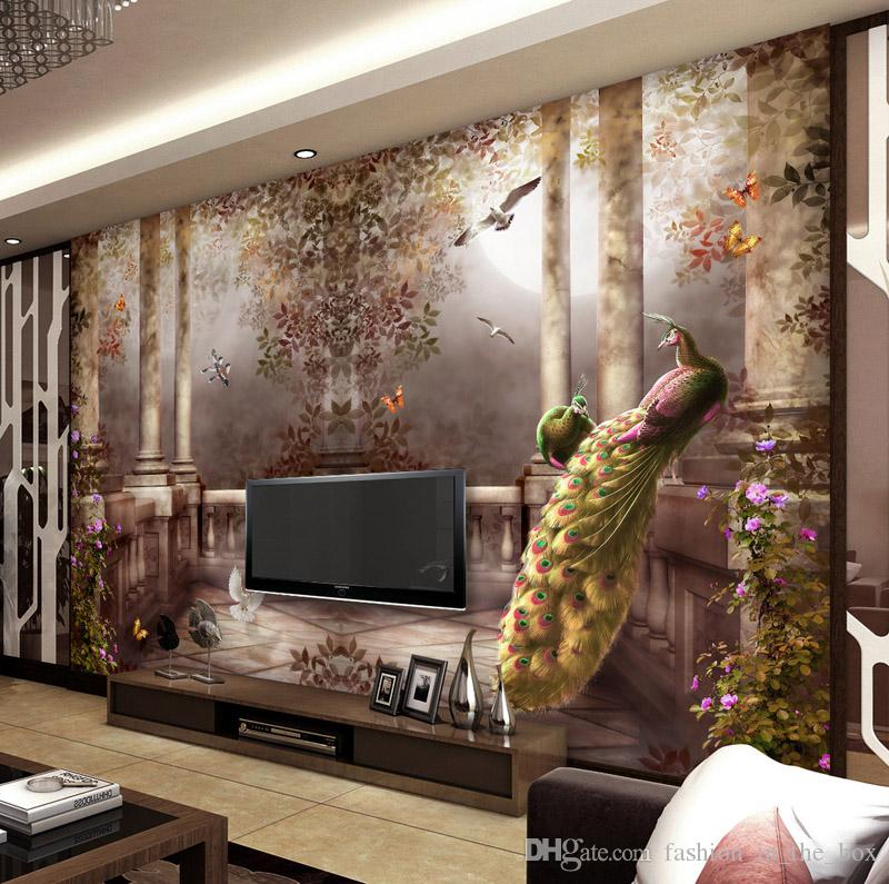 3d wallpaper for walls peacock garden wall mural rococo for Decor mural 3d
