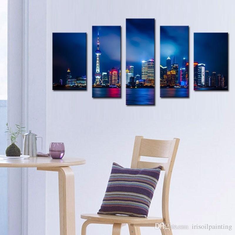 2017 lk589 canvas art living room shanghai high rise building nice night scene oil paintings on. Black Bedroom Furniture Sets. Home Design Ideas