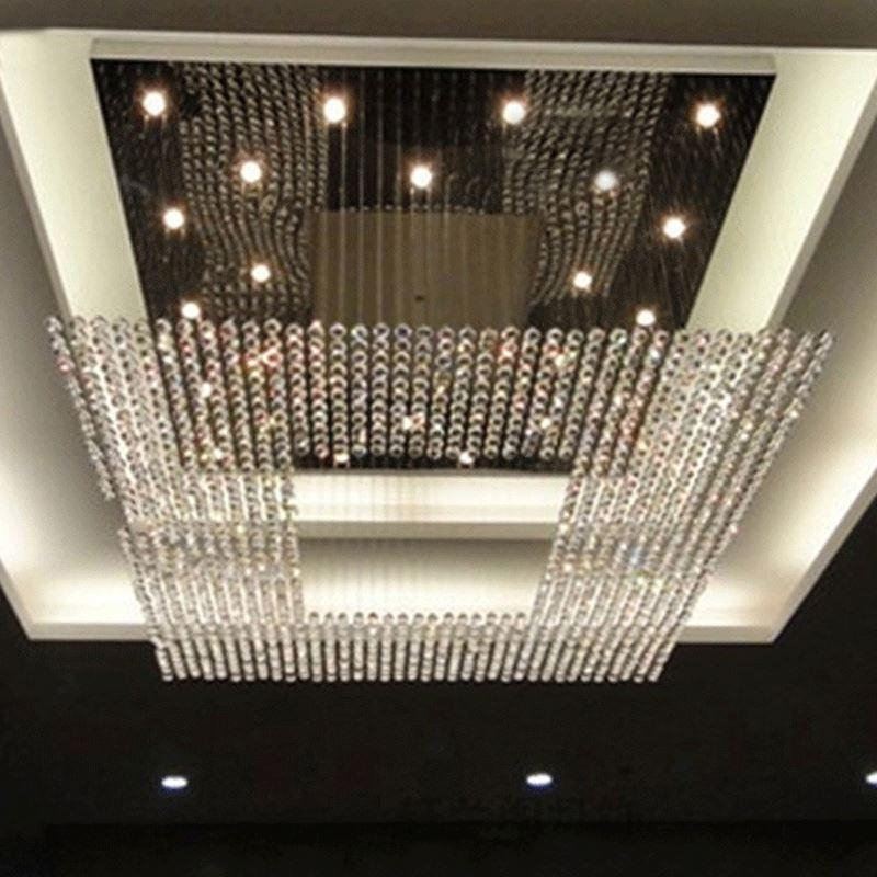 New Square Modern String Big Crystal Chandeliers Hotel