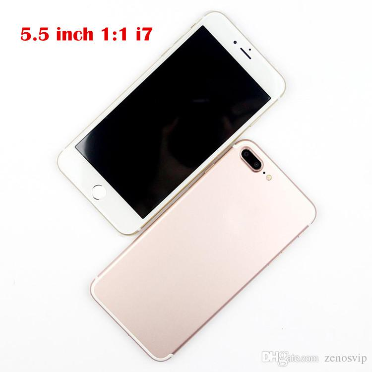 Goophone 5.5inch i7 plus MTK6580A Quad Core 8MP Back Camera 1GB RAM 16GB ROM Show 4G 128G 1280X720 HD Android 6.1 Smartphone Sealed box