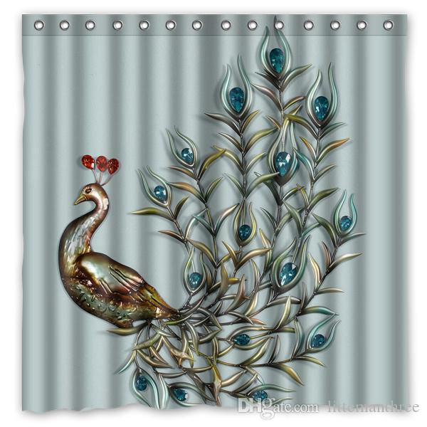 2017 fantasy peacock design shower curtain size 180 x 180 for Fantasy shower curtains