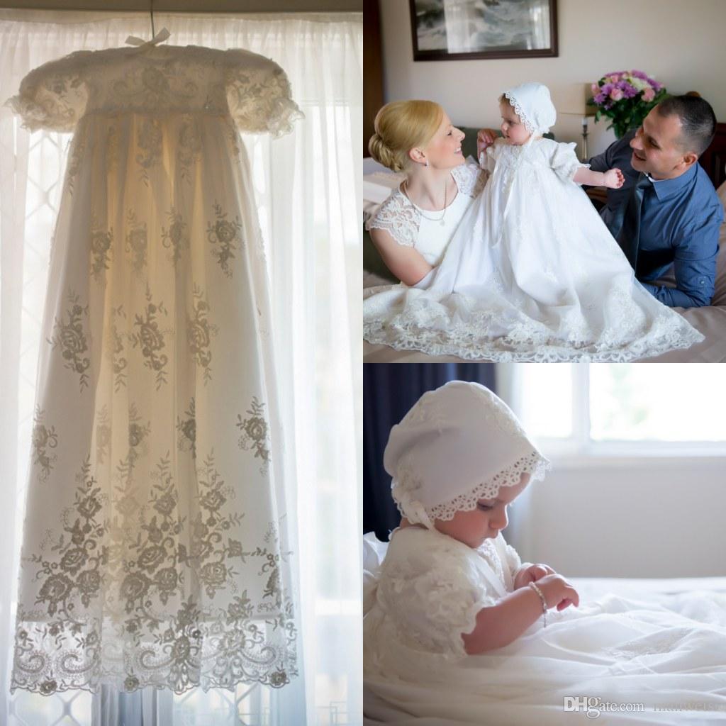 vintage baptism robe first communion dresses short sleeve lace applique cheap long christening. Black Bedroom Furniture Sets. Home Design Ideas
