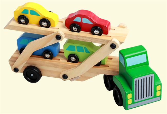wooden train car toys double deck vehicle cars for kids wooden car truck children educational toys