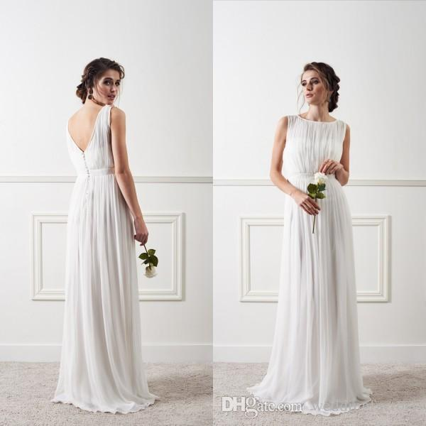 Modern Country Chic Wedding Dress : Modern cheap beach wedding dresses country style illusion bateau