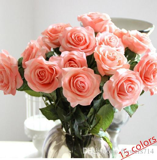 2017 wholesale decor rose artificial flowers silk flowers real touch rose wedding bouquet home. Black Bedroom Furniture Sets. Home Design Ideas
