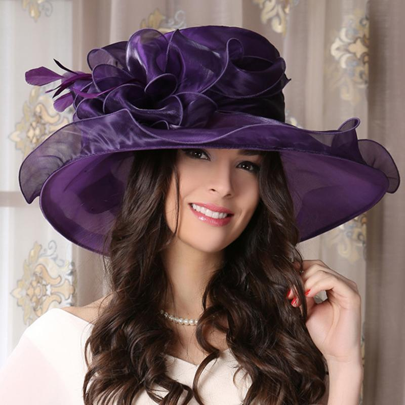 Purple large brim sun hat for ladies womens flower summer for Womens fishing hat