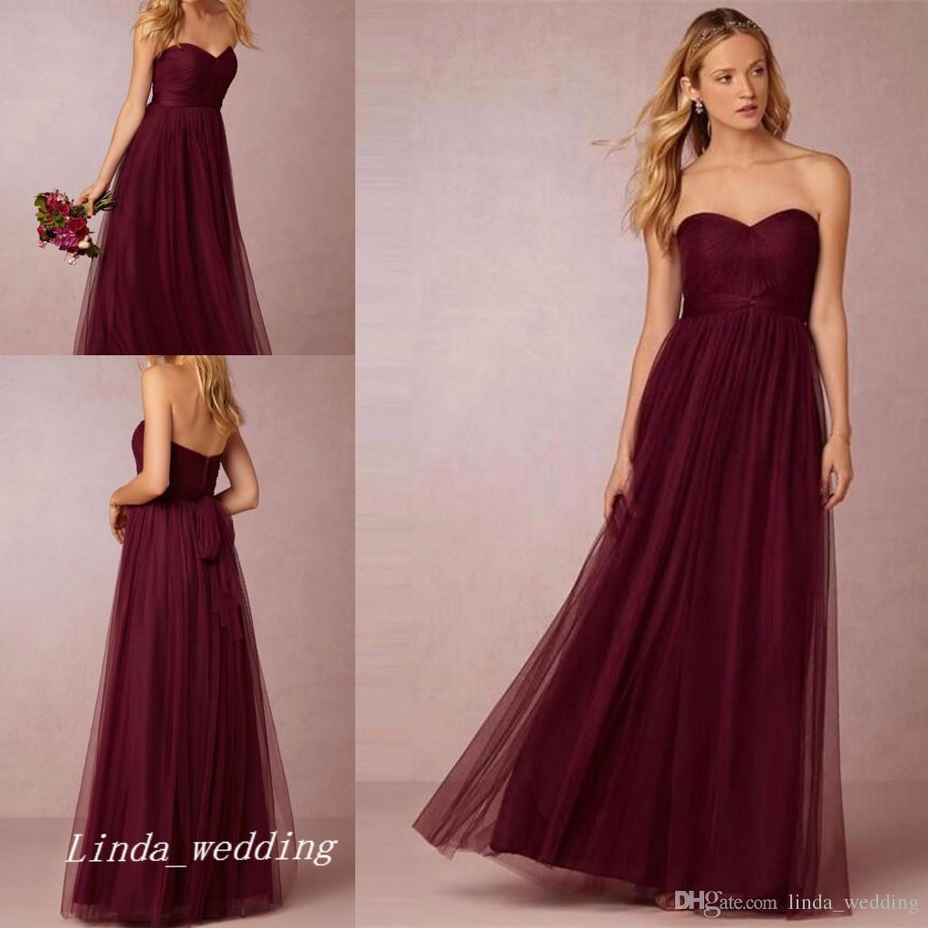 Under 100 Burgunday Bridesmaid Dress Wine Red Formal Maid