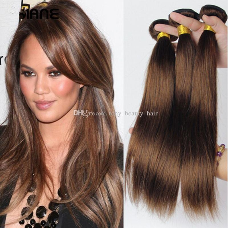 Cheap Color 4 Medium Brown Peruvian Hair Extensions 8a