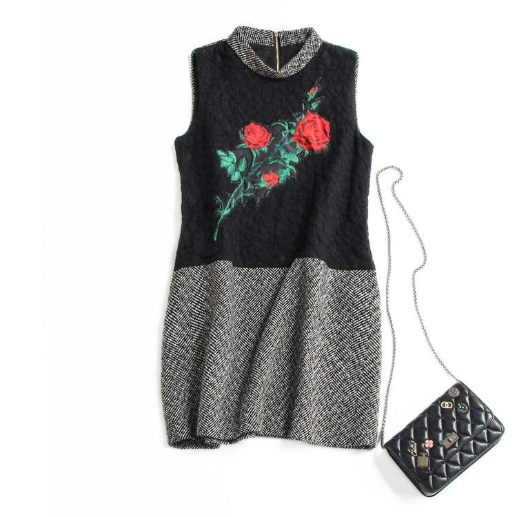 Rose print sleeveless tank dress winter 903 dress online with 57 15