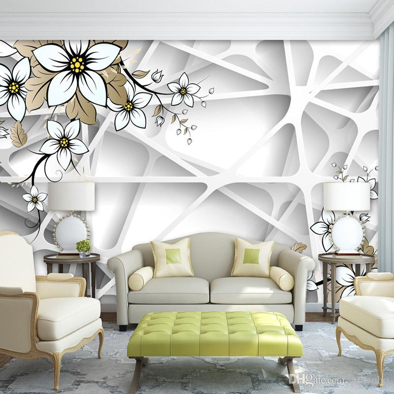 Elegant 3d magnolia flowers wallpaper personalized custom for Custom mural wallpaper uk