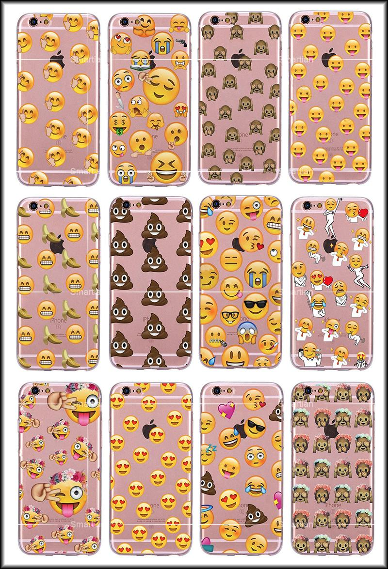 Protecteur imperméable à l'eau Ultra mince Coque Crystal Clear TPU Emoji cartoon