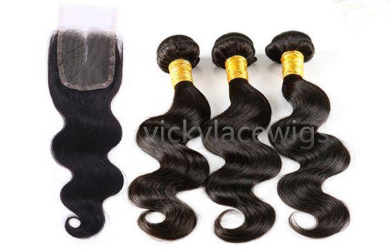 Ali Cheveux vierges brésiliens corps vague libre de la partie de la dentelle de fermeture 4 * 4 avec 2pcs de tissage de cheveux non transformés couleur naturelle