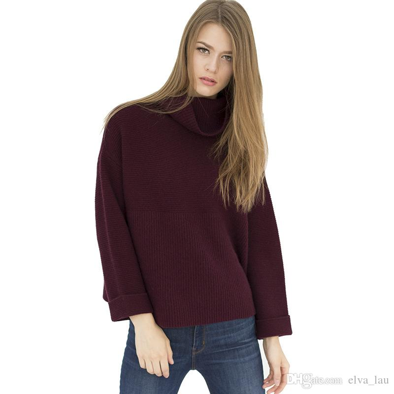 100% Pure Cashmere Sweater Turtleneck Women Batwing Sleeve Striped ...