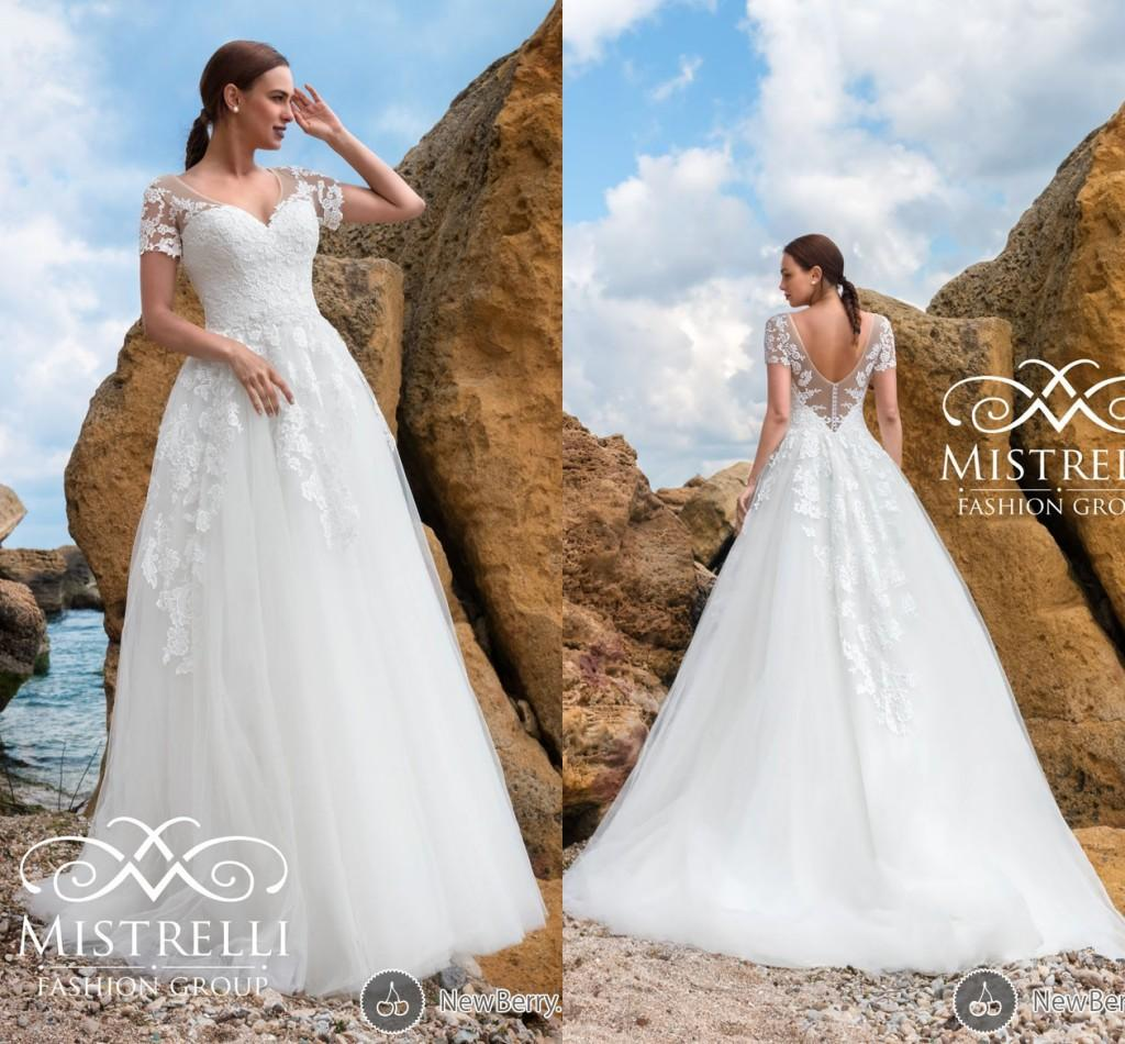 Discount Mistrelli 2016 Lace Beach Wedding Dresses V Neck