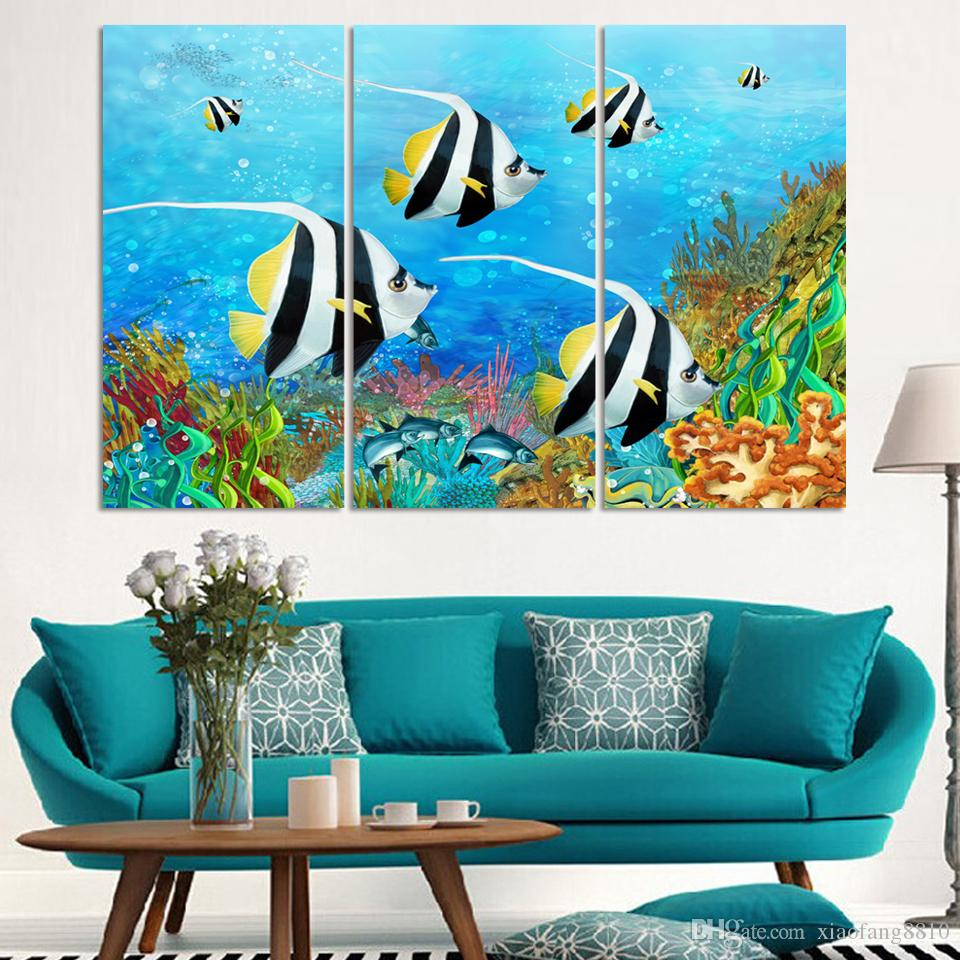 2017 Undersea World Oil Painting Printed On Canvas Fish Painting For Home Dec