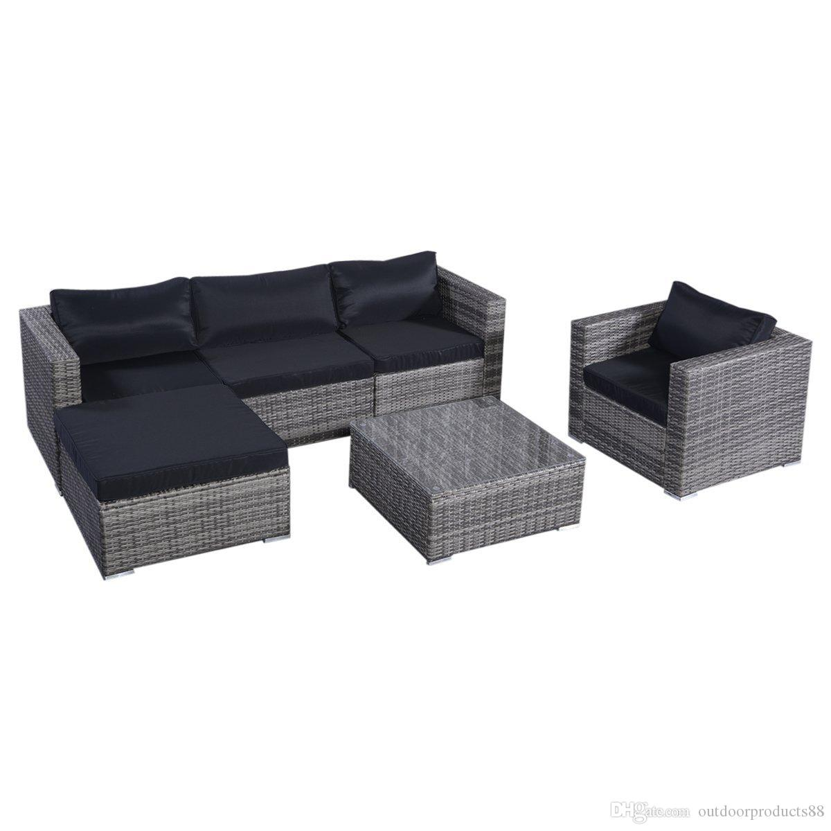 2017 Outdoor Wicker Furniture Set Sofas Ottoman With Cushions Gra nt Gray Outdoor Pe Wicker
